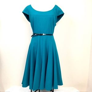 Calvin Klein A Line Dress Empire Waist Teal